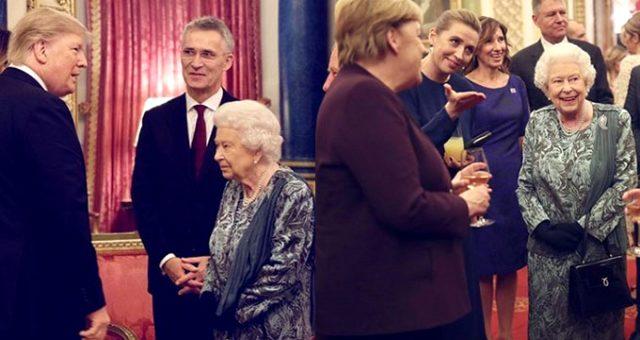 Buckingham Sarayı'ndaki geceye damga vuran kare! II. Elizabeth, Trump'ın karşısında surat astı