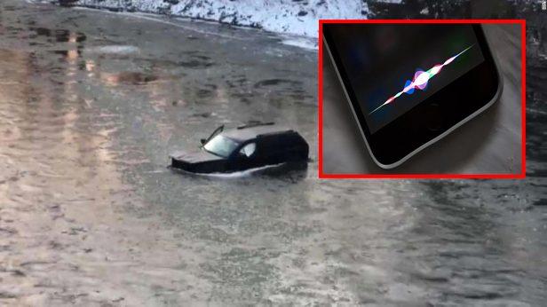 """Buz tutmuş nehre düşen genci Apple'nin """"Siri"""" özelliği kurtardı"""