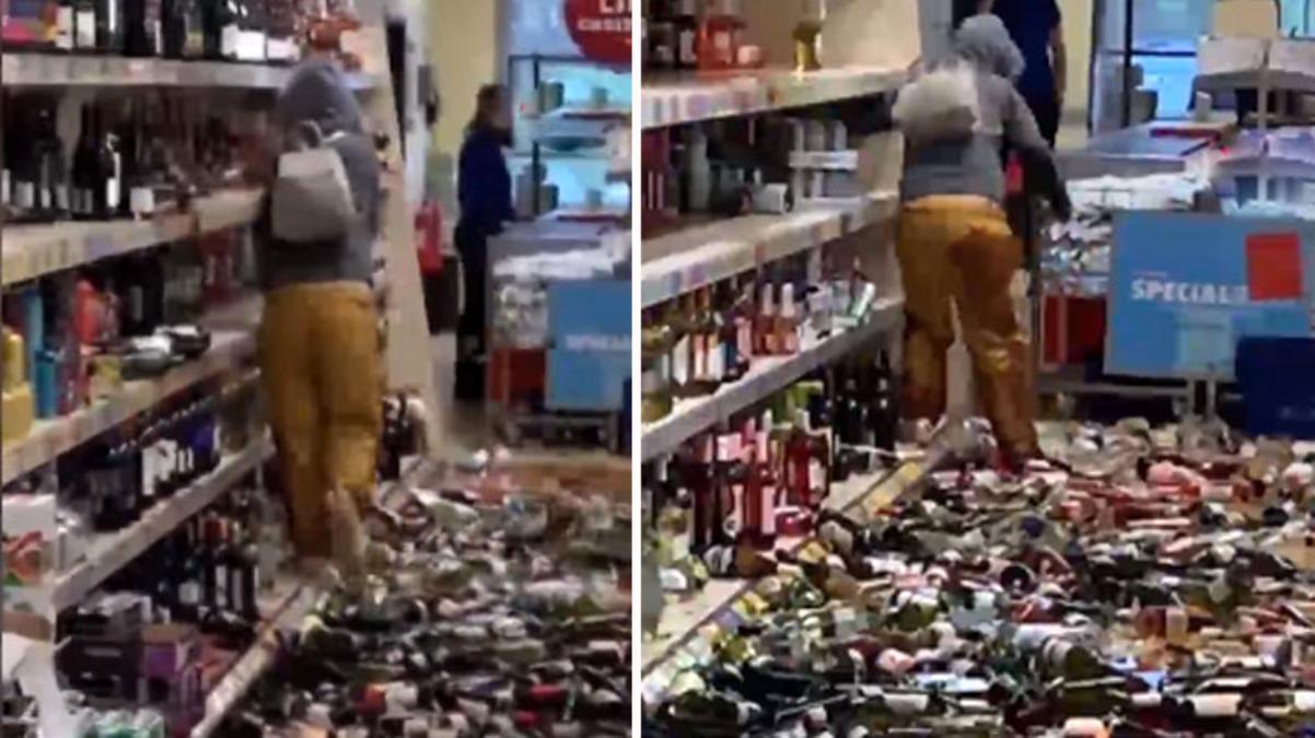 İngiltere'de sinir krizi geçiren müşteri marketi birbirine kattı