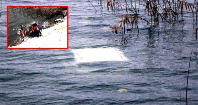 Kontrolden çıkan otomobil göle uçtu: 2 kişi yüzerek kurtuldu