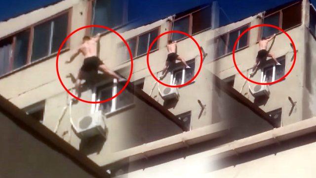 Korku dolu anlar kamerada! Pencereye tırmanırken 7'nci kattan düşüp öldü