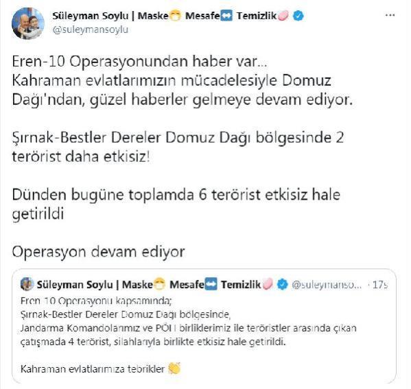 Son dakika: İçişleri Bakanlığı: Şırnak'ta 2 terörist daha etkisiz hale getirildi